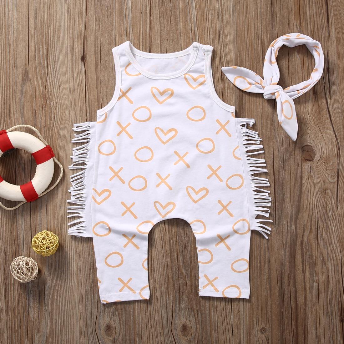 Newborn Baby Girl Clothes Summer Geometric Sleeveless Tassel Romper +Headband 2PCS Set Outfit Sunsuit Princess Girls Costume
