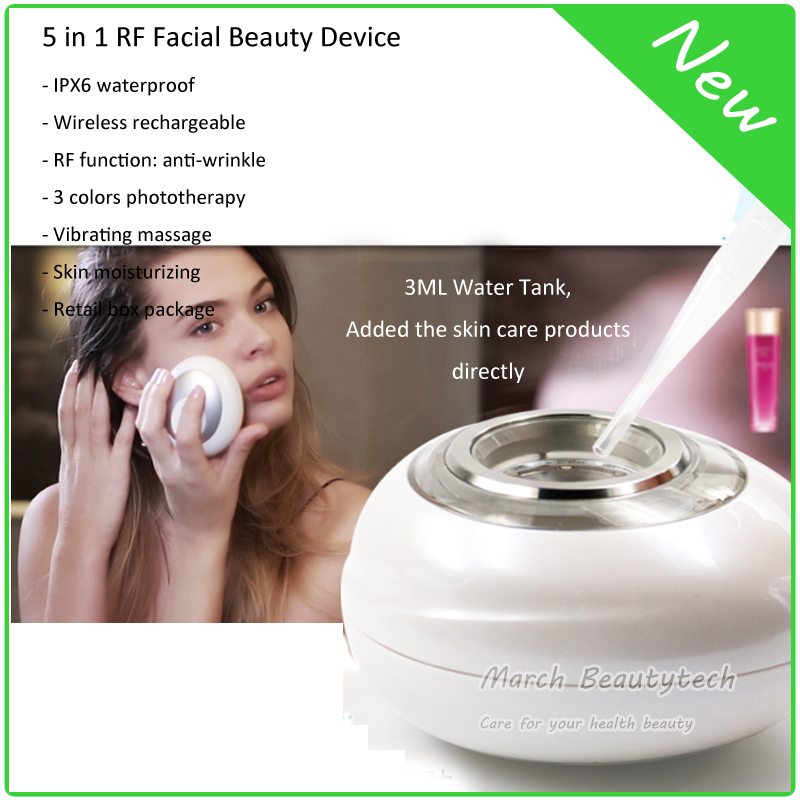 Home Use Beauty Spa Anti-aging Skin Whitening Moisturizing 5 in 1 RF Photon Ion Ultrasonic Vibration Facial Beauty Massager anti acne pigment removal photon led light therapy facial beauty salon skin care treatment massager machine