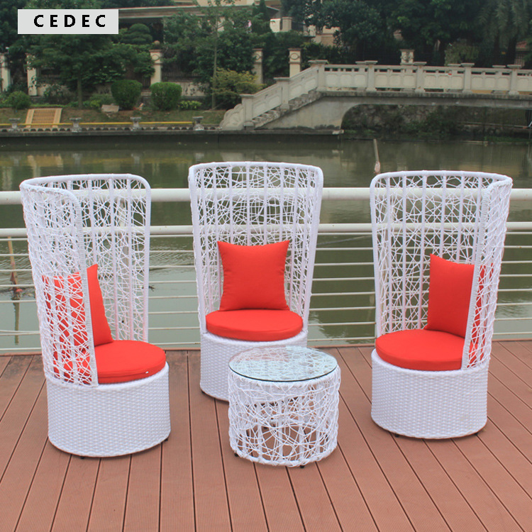 Outdoor Patio Wicker Furniture New Resin 4 Pc Bar Server Table U0026 High Back  Chair Set