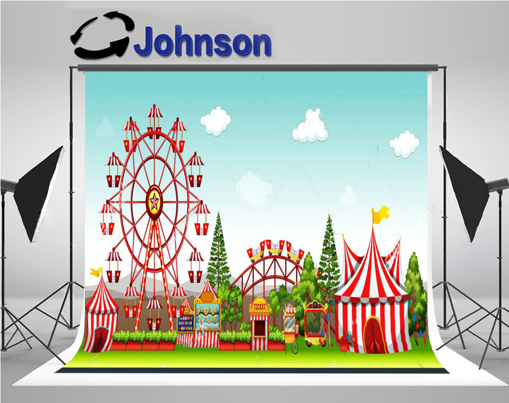 wall backdrops High quality Computer print Amusement Park Circus Tent Carnival Tree Blue Sky White Clouds background