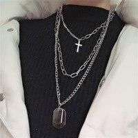 KMVEXO multicouches Punk chaînes croix collier Couple mode rue Hip Hop géométrique métal pendentif colliers pour les femmes