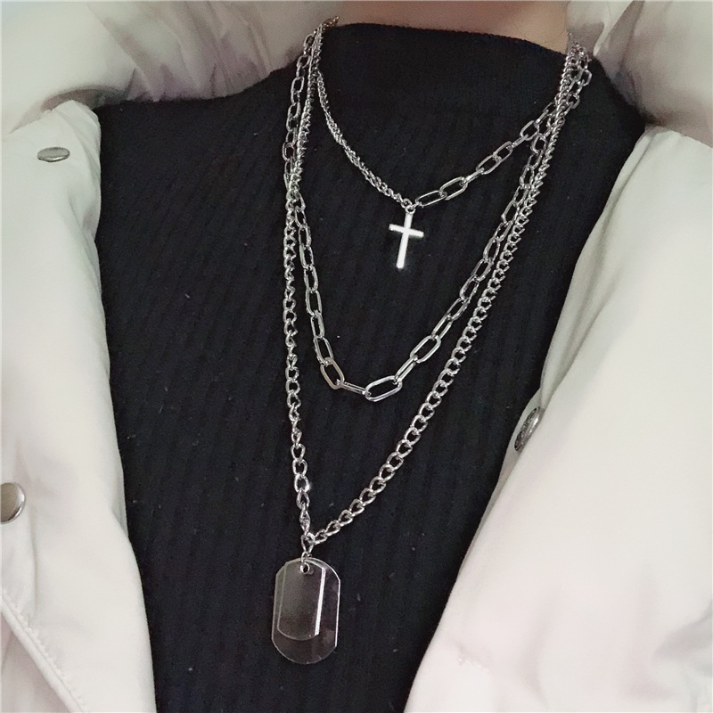 KMVEXO Multilayers Punk Silver Chains Cross Necklace Couple Fashion Street Hip Hop Geometric Metal Pendant Necklaces For Women