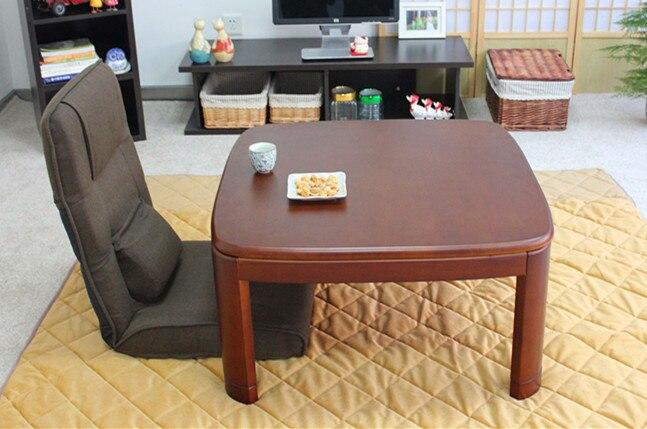 Japanese Kotatsu Table Square 80cm Walnut Asian Home Furniture Living Room  Modern Low Foot Warmer Heated