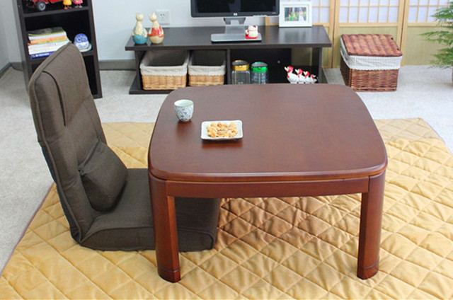 Anese Kotatsu Table Square 80cm Walnut Asian Home Furniture Living Room Modern Low Foot Warmer Heated Solid Wood Design