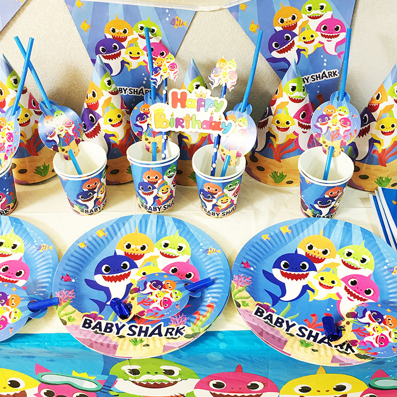 Detail Feedback Questions About OHEART Marine Theme Baby Shark Birthday Party Disposable Tableware Sets Invitation Card Shower Decoration Supplies On