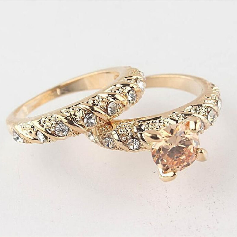 1set his her Copper Alloy Golden Engagement Ring Wedding Ring Set Men & Women Couple Ring Jewelry ...