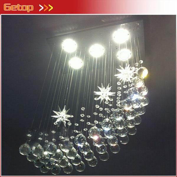 Best Price Modern K9 LED Crystal Chandeliers Lights Moon Chandelier Hanging Wire Crystal Lamp Ceiling Lamp Bedroom Bar Lights