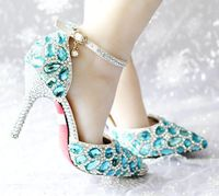 Sky Blue Pumps Shoes Womens TG869 Point Toe Sexy Thin High Heeled Ladies Crystal Pumps Shoes