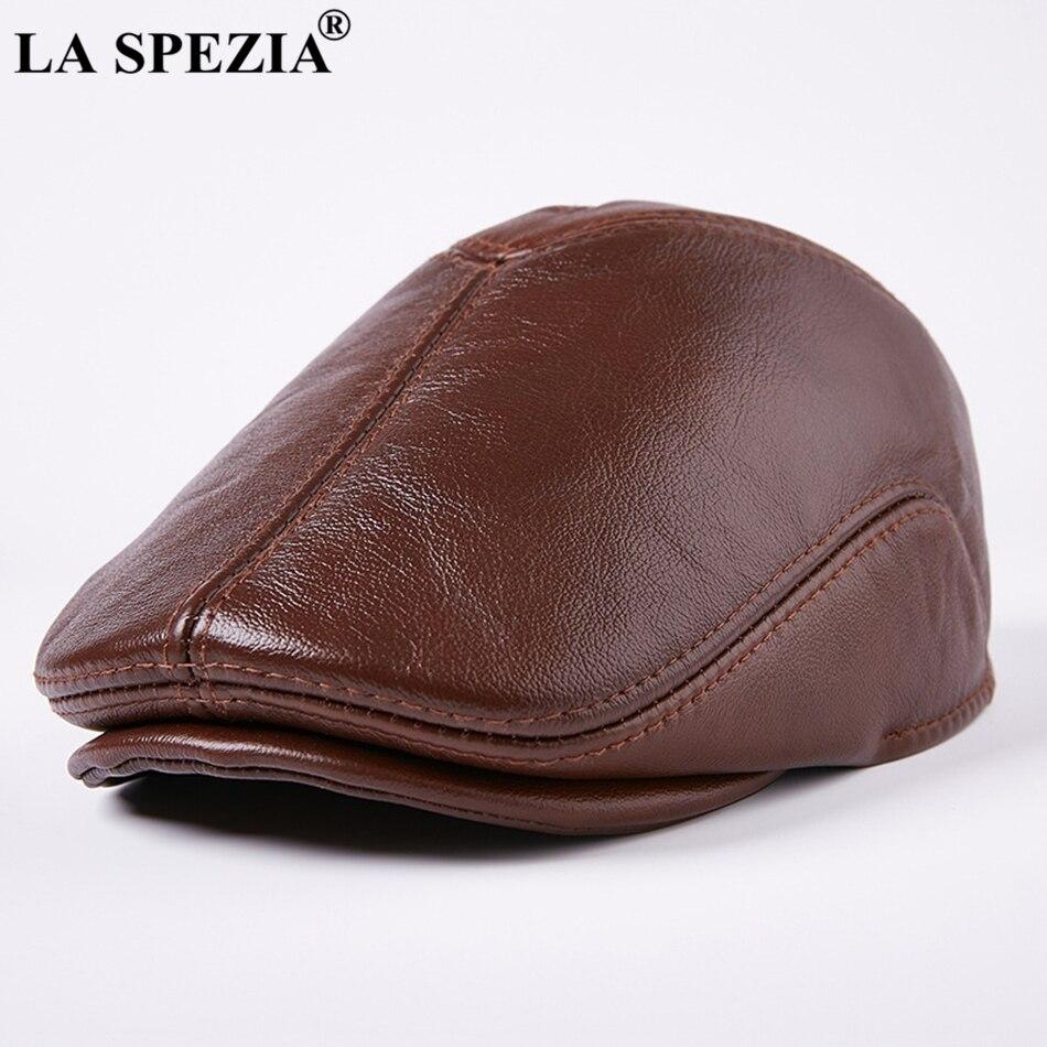 LA SPEZIA Real Leather Berets Caps For Men Casual Warm Brown Duckbill Hat Winter Classic Directors Cap High End Flat Cap Beret