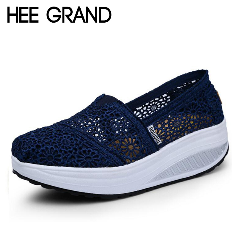 HEE GRAND Women Loafers Soft Casual Shoes Openwork Lace Vamp Woman Creepers Slip On Flats Comfortable Women Shoes XWD6455 hee grand 2017 creepers summer platform gladiator sandals casual shoes woman slip on flats fashion silver women shoes xwz4074