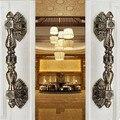350mm vintage gran puerta/puerta de cristal maneja tiradores de las puertas de bronce latón antiguo manijas de las puertas de madera del estilo de Europa villadom manijas de las puertas