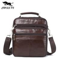 CROSS OX Mens Genuine Leather Handbag Shoulder Bag Oil Wax Cow Leather Bag Vintage Casual Style Flap Bags SL422M