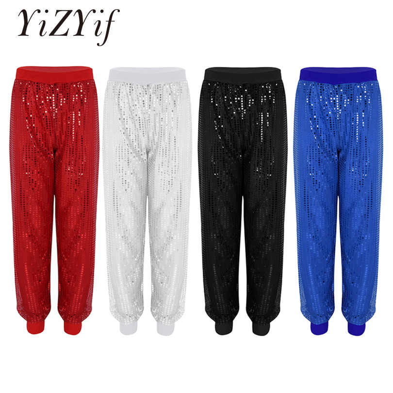 YiZYiF Women hip hop pants Glitter Sequins Hiphop Dance Costume performance Shinny Bloomers Trousers Clubwear Harem Pants Women