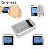 Беспроводная кнопка вызова официанта Системы Ресторан пейджер 1 клавиатура передатчик + 4 часы приемник для ресторана кафе отеля F3288B