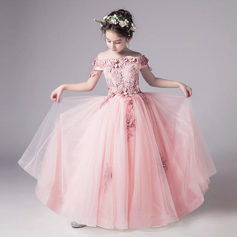 Superbe robe de mariée en dentelle sans épaule pour filles robe de première Communion pour filles Appliques de perles fête Tulle robe d'anniversaire de princesse