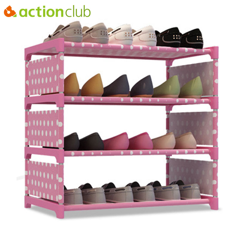 Actionclub Non-woven Metal Shoe Rack Four Layers Multi-purpose Shoe Cabinet Books Shelves Toys Plants Storage Shelf Organizer 12 grid diy assemble folding cloth non woven shoe cabinet furniture storage home shelf for living room doorway shoe rack