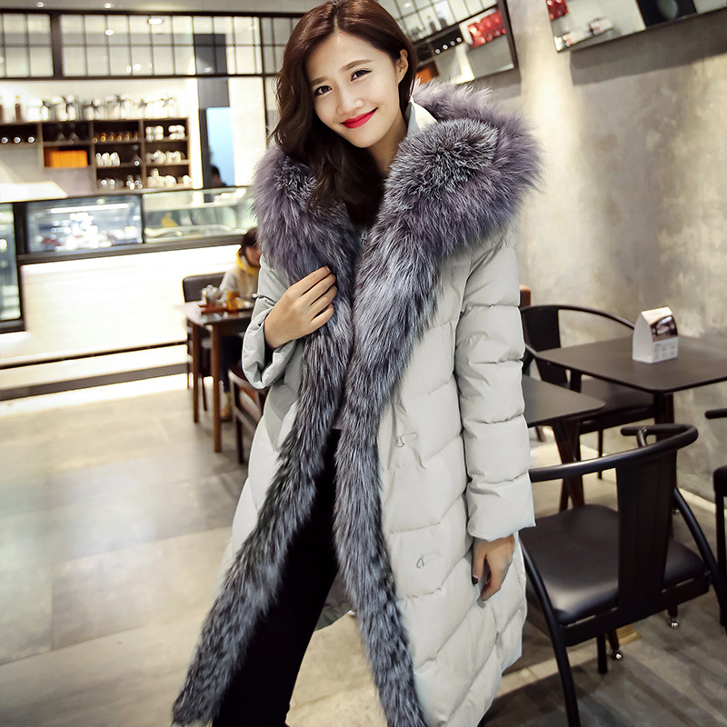 New Fashion Women Winter Coat Big Real Raccoon Fur Hooded Parkas White Duck Outerwear Coat Fashion Long Womens Jackets CC339 2017 winter new clothes to overcome the coat of women in the long reed rabbit hair fur fur coat fox raccoon fur collar