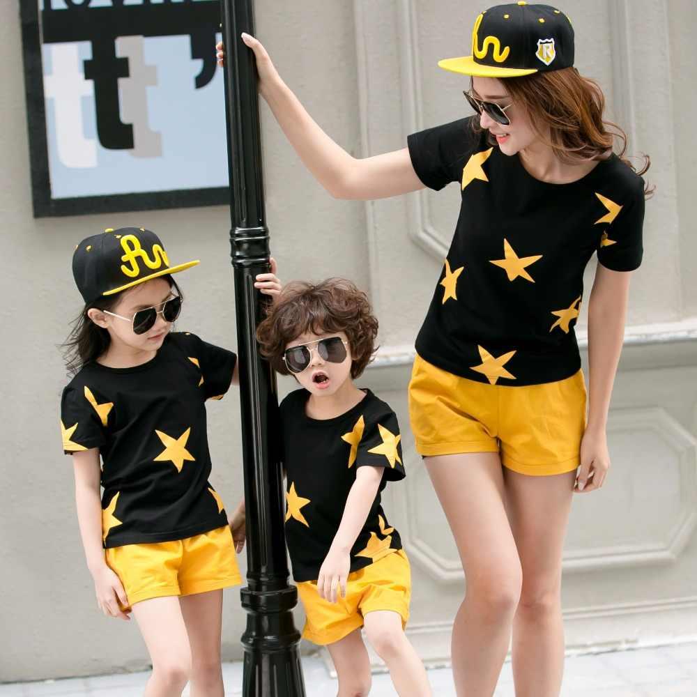 Familie Set Stars t-shirts + Shorts 2 stuks Kleding Moeder Dochter Vader Zoon Kleding Sets Familie Bijpassende Outfits Familie look ML