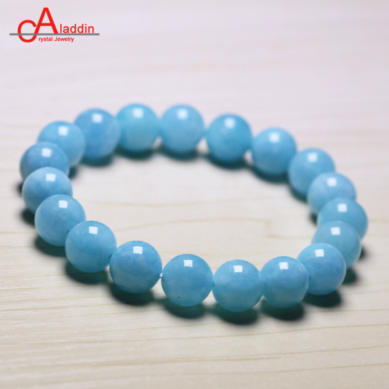 Aladdin Aquamarin Crystal beaded bracelet Round beads Dark sea blue stone jewelry bangle for women Valentines Gift