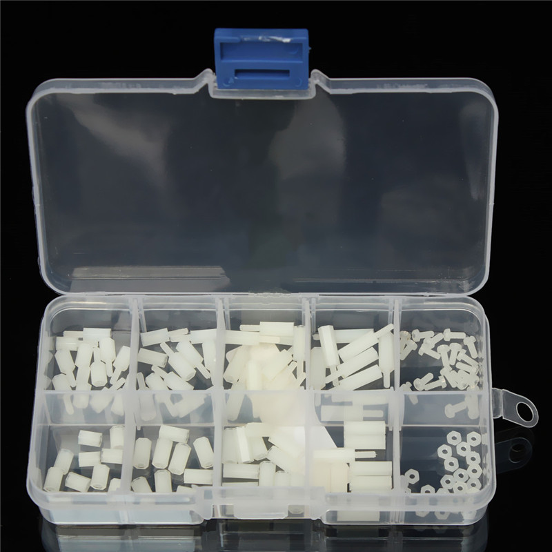 MTGATHER 120pcs/Set M2 Nylon Hex Spacers Screw Nut Assortment Kit Stand off Accessories Set Plastic Box стоимость