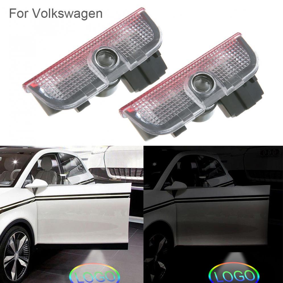 2 pcs Porte Lumière De Voiture Fantôme Courtoisie LED Bienvenue Logo Lampe Ombre Projecteur pour VW Volkswagen Tiguan Golf 5 6 7 Passat B7 EOS ETC