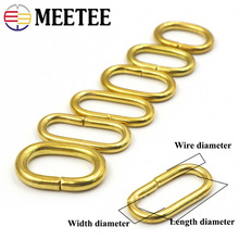 Meeetee 5/10pcs Pure Copper Brass O Ring Buckle ID16/18/20/22/24mm Oval DIY Luggage Leather Key Chain Hardware Accessories AP643