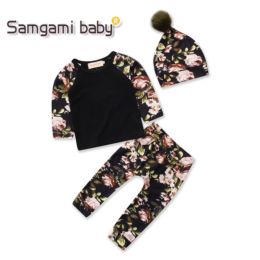SAMGAMI BABY Girls Clothing Set Long Sleeve Fashion T-shirt+pants+hat Floral Print 3pcs/suit Outfits Newborn Bebe Girl Clothes