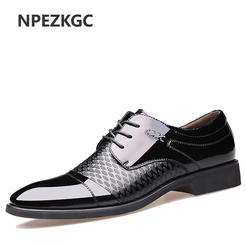 NPEZKGC Men Dress Leather Shoes lace up Fashion Male Formal Oxford Shoes Flats Pointed Toe Casual Shoes For Men new 2018 fashion men dress shoes black cow leather pointed toe male oxfords business shoes lace up men formal shoes yj b0034