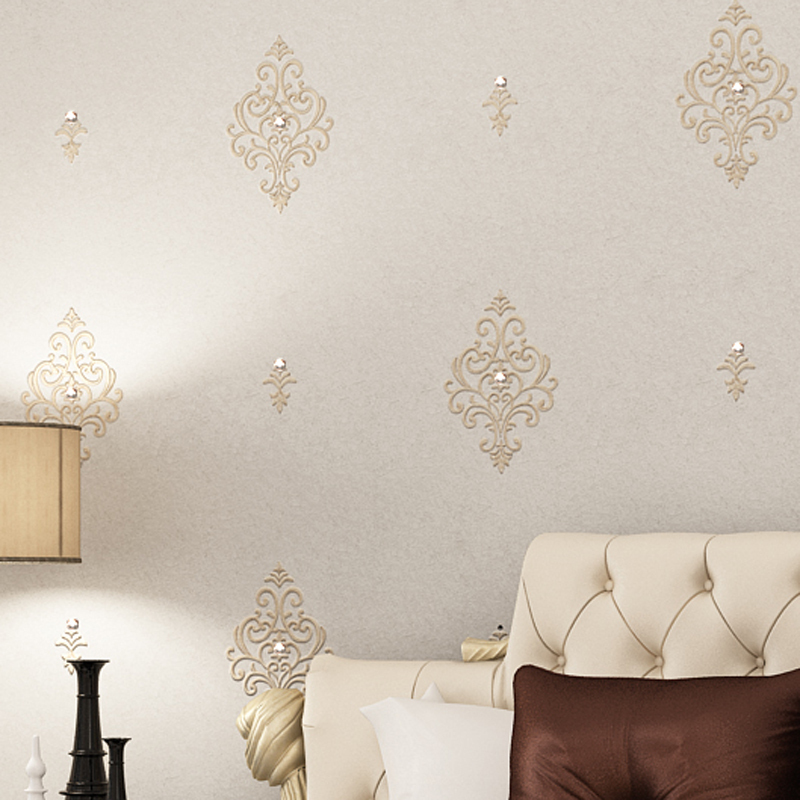 beibehang European - style embroidery 3d diamond luxury high - grade silk simple living room bedroom wallpaper background wall цена