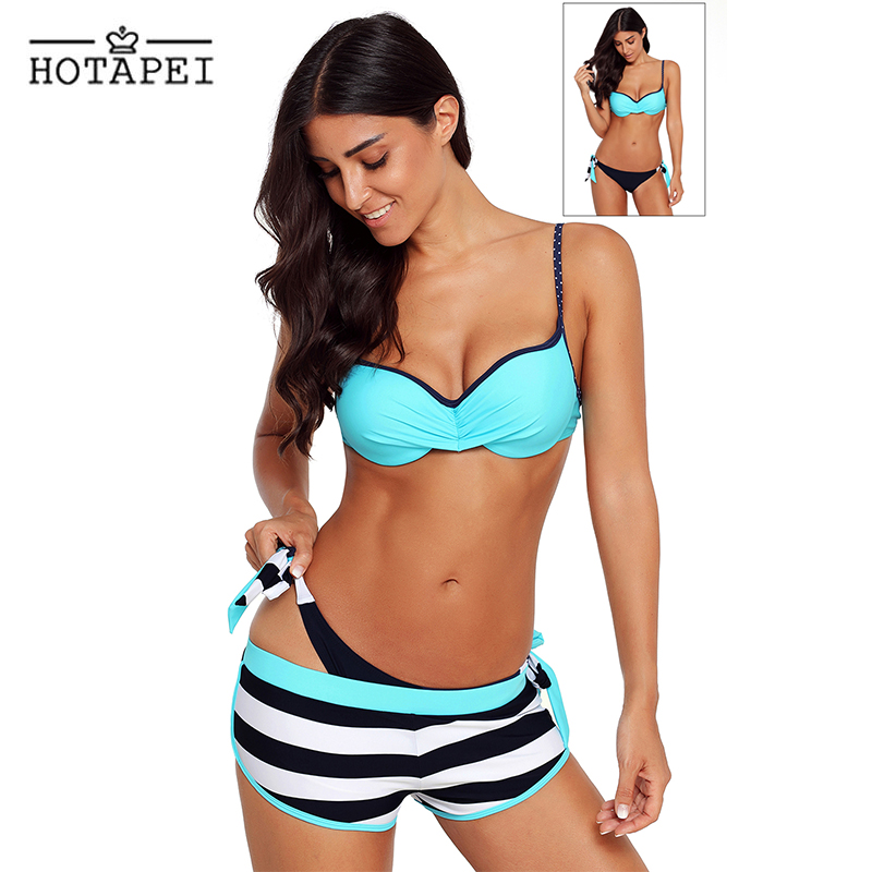 Hotapei sexy Bikinis Three-piece suit Bathing Suit Blue Wrinkled Bra Striped Bikini Bottom Swimsuit LC41720 women New biquini XL the new south korean manufacturers wholesale 2016 small fresh wave bikini three piece steel support gather swimsuit