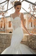 free shipping casamento crystal fashionable romantic sexy backless vestido de novia long mermaid wedding Dress 2014 bridal gown