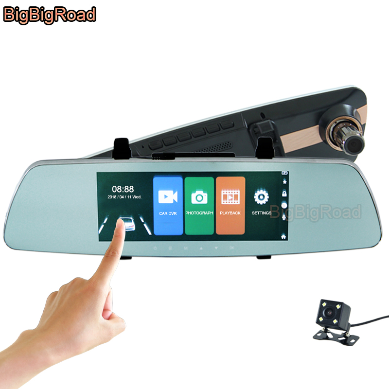 BigBigRoad For Nissan altima cube frontier GTR GT-R R35 juke leaf livina march Car DVR Rear View Mirror 7 Inch Touch Screen