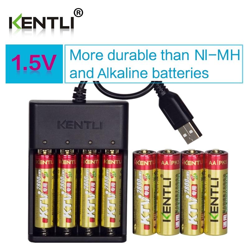 все цены на 8pcs KENTLI 1.5V AA PK5 2800mWh rechargeable lithium li-ion batteries batterie+ 4 slots quick AA charger онлайн