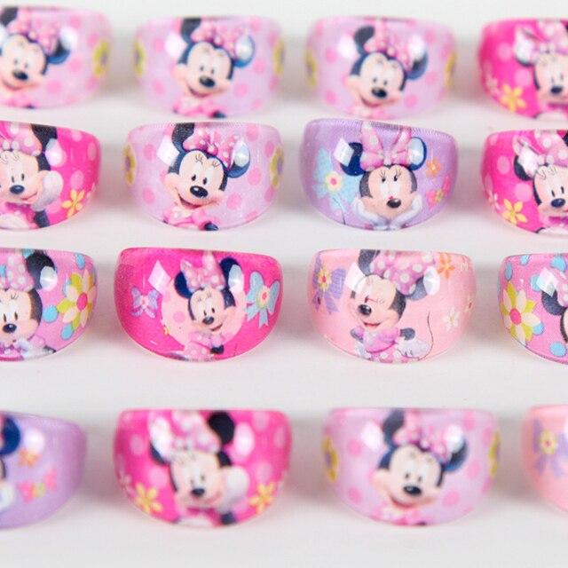 12 pçs/lote Minnie Mouse Favores Do Partido Anéis de Acrílico Decoração Do Partido Suprimentos Presentes de Cristal Anéis de Dedo Do Bebê Das Meninas do Miúdo