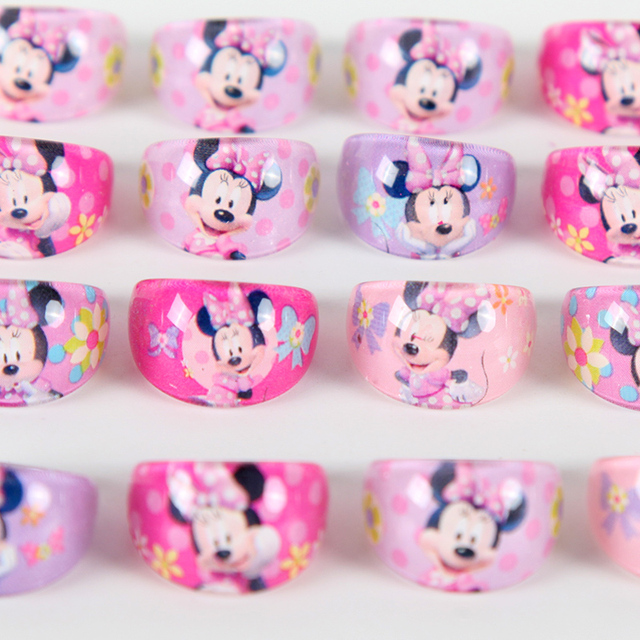 12pcs/lot Minnie Mouse Party Favors Rings Acrylic Crystal Kid Girls Finger Rings Baby Party Decoration Gifts Supplies