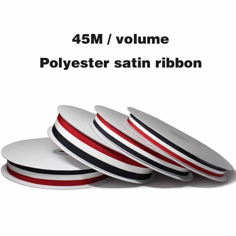 Trois fils de polyester de haute qualité 45M | Rouge blanc et bleu teint avec des vêtements de bricolage, accessoires de chaussures trois rubans