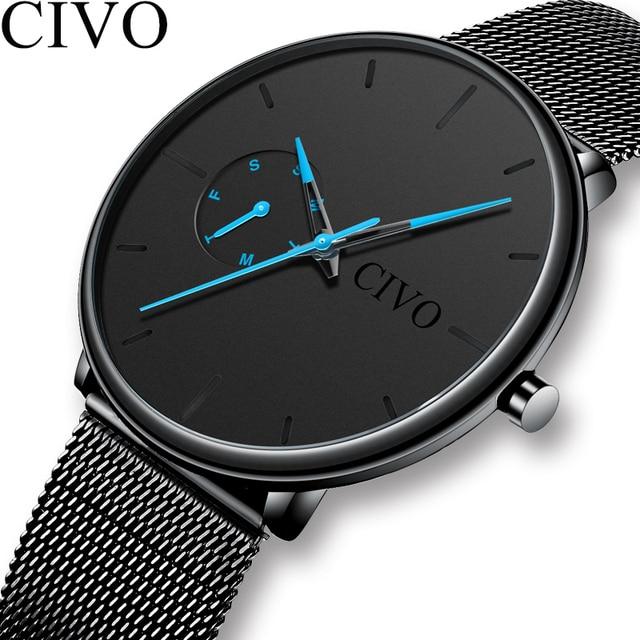 Analogue CIVO Moda Casual Mens Relógios À Prova D' Água Esportes relógios de Pulso Dos Homens Relógios Para Homens Presente Relógio de Quartzo Relogio masculino