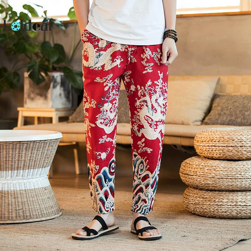LOLDEAL Men's Chinese Dragon Print Pants Thin Ankle Length Men's Floral Pants Loose Casual Pants