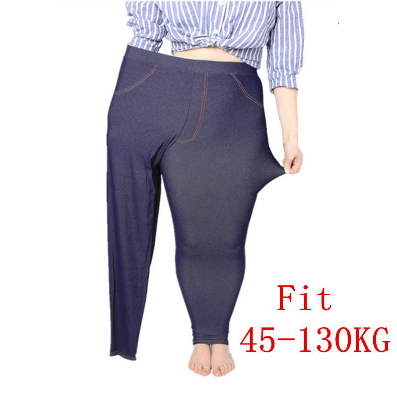 Plus Size Women   Leggings   5XL Faux Denim Jeans Jeggings   Legging   Large Navy Blue Stretch Skinny Pencil Pants Trousers 2019