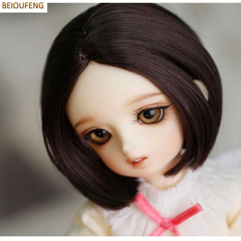 BEIOUFENG (15.5-17CM) 1/6 BJD Wig Short Straight Doll Wigs for Dolls Accessories,Fashion Student Style Short Synthetic Doll Hair стоимость