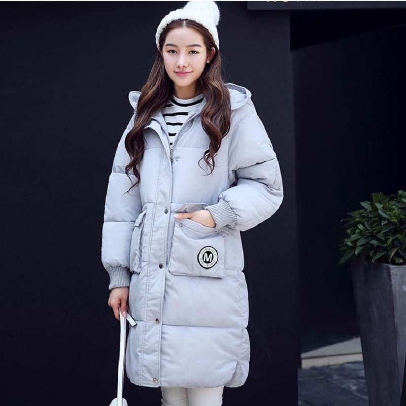 QIMAGE Women Winter Jacket Coat 2017 Long Thick Padded Cotton Jacket Female Hooded Warm Down Outwear Silm Parkas Womens Clothing long coat womens jacket new printing was thin down cotton padded thick coat windbreaker