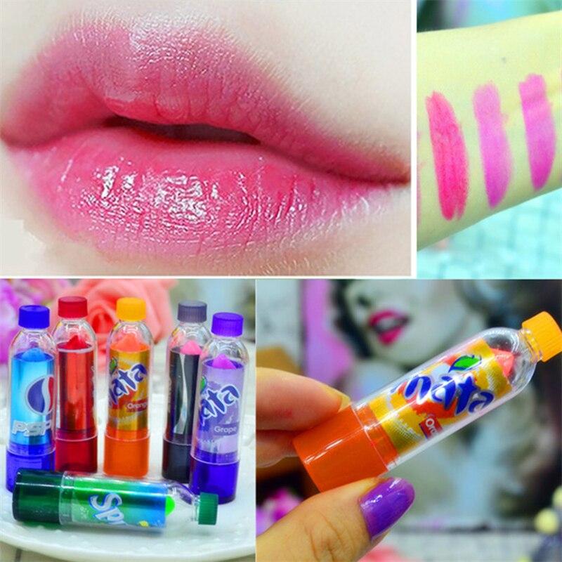 ¡Caliente! Bálsamo labial bonito pintalabios de cola intercambiable de Color arcoíris, copa de cera, bálsamo labial para bebés, maquillaje de marca, Color mágico