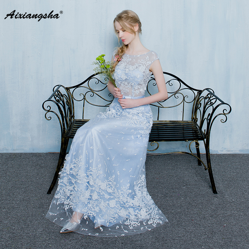 2018 New arrival A-Line Floor-Length Scoop-Neck Sleeveless With Belt Appliques Elegant   Prom     Dresses   Fairy Style Illusion Tulle