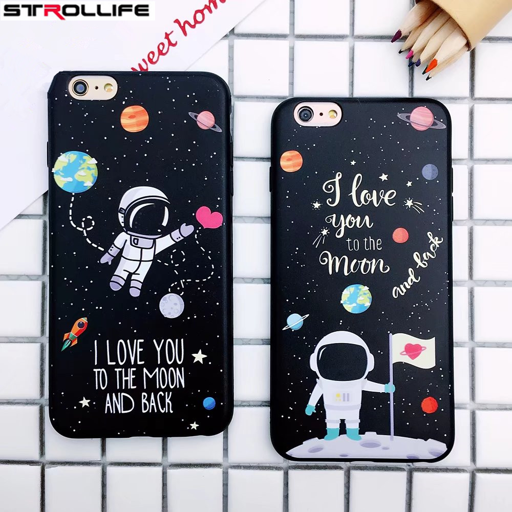 STROLLIFE Universe Series Phone Cases For iphone 6 Case Cartoon Airship Stars Sky Soft TPU Cover For iphone 7Plus 6s Couple case