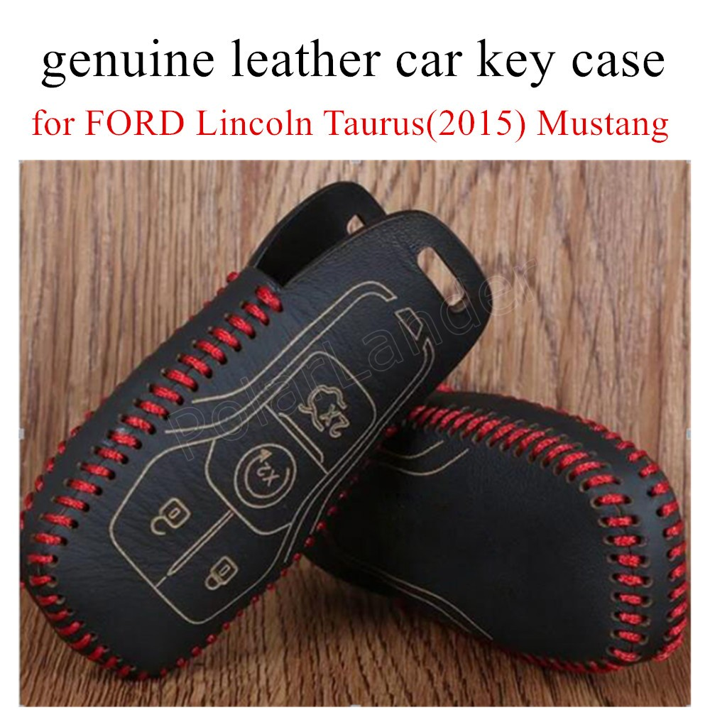 Hot sale hand sewing car key case cover genuine quality leather fit for ford lincoln taurus