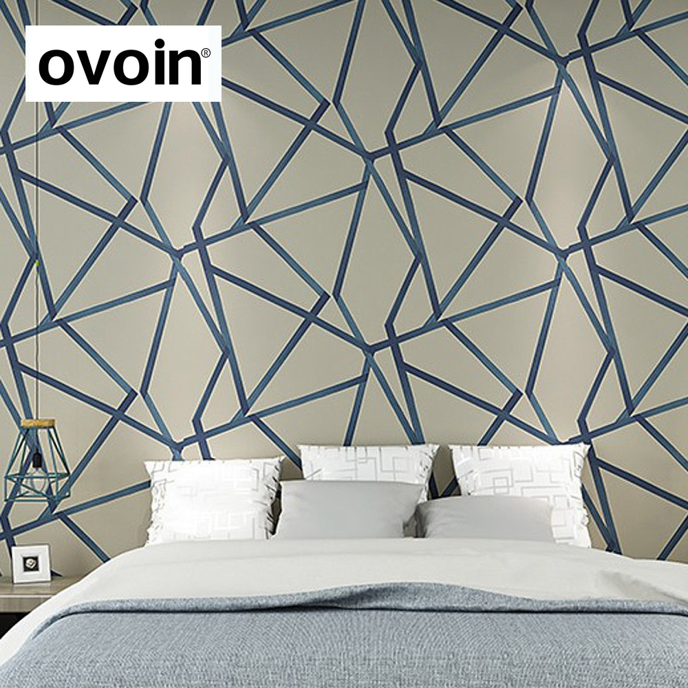 Modern Design Geometric Wallpaper For Walls Roll Metallic Triangle Pattern non woven Wall Paper For Bedroom Living Room