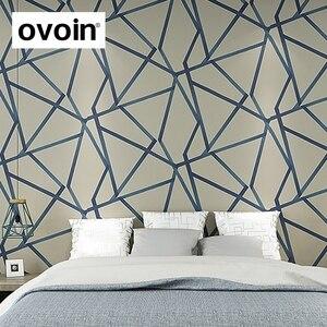 Image 2 - Papel tapiz geométrico 3D para decoración del hogar papel tapiz con diseño moderno de rayas y triángulos, para dormitorio y sala de estar, color azul y Beige