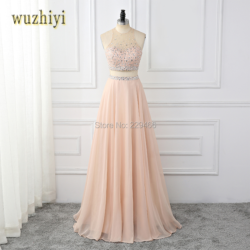 wuzhiyi New Arrival Great Zipper Evening dress long Lace Appliques Prom Dresses HalterTulle beading Evening Dress Prom Gown 2018