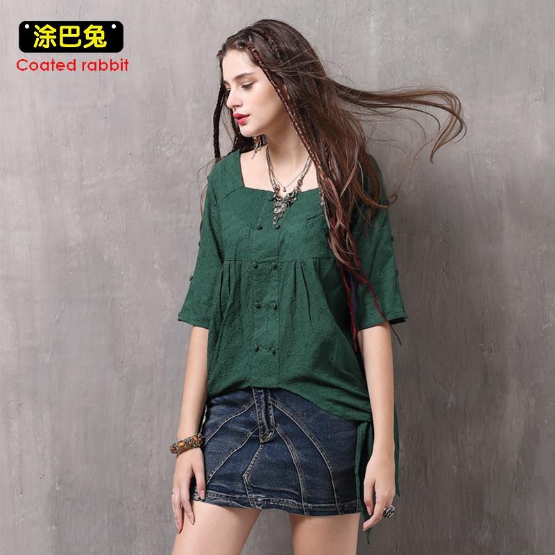 CR Women Tops 2018 Long Vintage Embroidery Half Sleeve Solid Blouse Shirt Female Asymmetry Split the fork