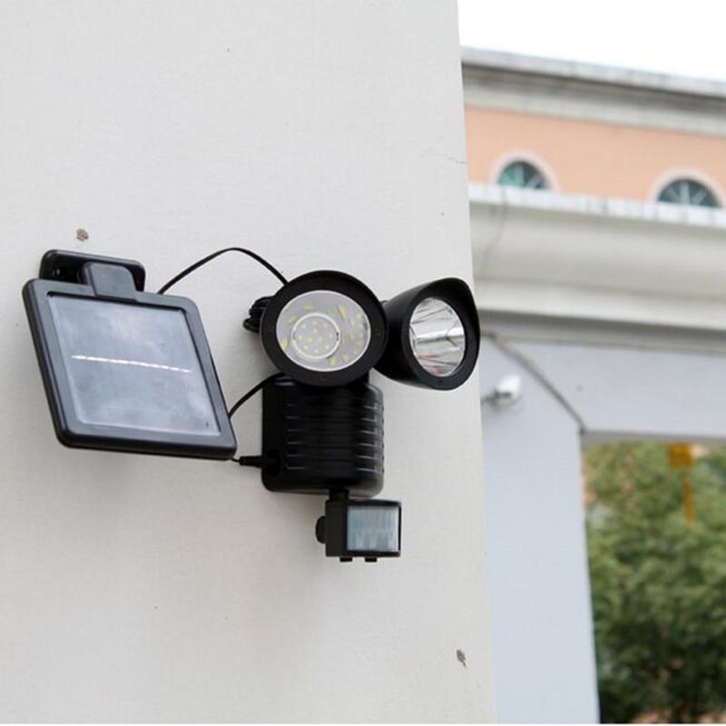 ФОТО 2pcs Sensor Solar light 22 LED wall mounted Solar Powered outdoor PIR sensor Lights solar Flood light garden wall sensor lamp